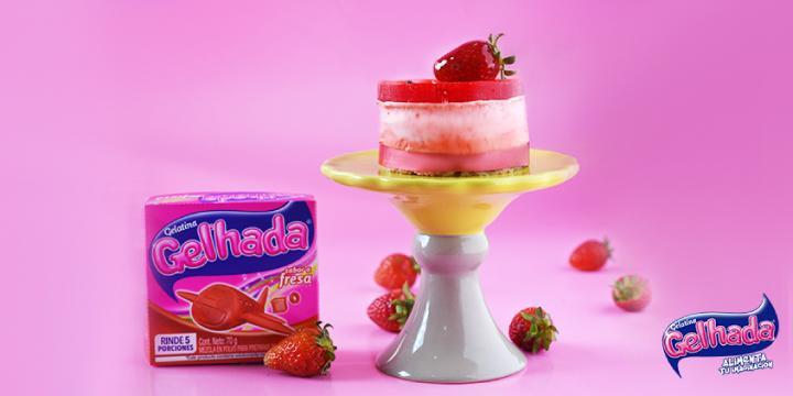 Postr de gelatina de fresa